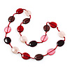Long Plastic Flat Oval Bead Pink And Red Necklace - 108cm L