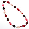 Long Plastic Flat Oval Bead Pink And Red Necklace