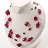 Raspberry Plastic And Pearl Illusion Necklace