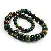Long Wood Graduated Green Colour Fusion Necklace