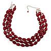 Cranberry Plastic Bead Multistrand Necklace