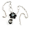 Rhodium Plated Floral Drop Pendant Necklace