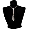 Long Thin Diamante Tie Necklace (Clear)