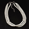 3 Strand White Glass Pearl Fashion Choker (6mm)
