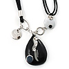 Black Enamel Teardrop Crystal Cord Pendant Necklace