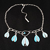 Sky Blue Enamel Teardrop Necklace (Silver Tone)