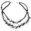 2 Strand Black Shell Beaded Necklace
