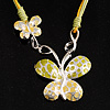 Enamel Butterfly Cord Necklace (Light Green&Yellow)