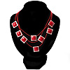 3 Strand Red Beaded Square Neckace
