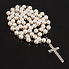 Long Pearl Style Cross Necklace (Snow White)