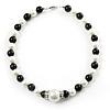Black & White Imitation Pearl Necklace - 38cm L