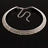 Austrian Crystal Choker Necklace (Silver&Clear)