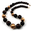 Long Wooden And Acrylic Bead Necklace (Brown, Black And Gold)