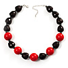 Black&Red Resin Beaded Choker Necklace (Silver Tone)