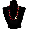 Long Chunky Burgundy Resin Bead Necklace (Gold Tone)