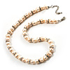 Light Cream Freshwater Pearl Necklace With Crystal Rings (8mm)
