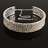 5-Row Austrian Crystal Choker Necklace (Silver&Clear)