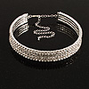 4-Row Swarovski Crystal Choker Necklace (Silver&Clear)