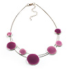 2-Strand Pale Pink Enamel Disk Fashion Necklace (Silver Tone)