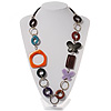 Multicoloured Butterfly Link Leather Style Necklace (Silver Tone) - 80cm