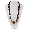 Chunky Geometric Wooden Bead Necklace (Black, Brown And Cream)