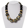 Chunky Colour Fusion Wood Bead Necklace (Black, Gold & White)