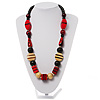 Chunky Geometric Wooden Bead Necklace (Black, Cream And Red)