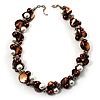 Exquisite Faux Pearl &amp; Shell Composite Silver Tone Link Necklace (Chocolate &amp; White)