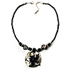 Jet Black Glass, Shell &amp; Mother Of Pearl Floral Choker Necklace (Silver Tone)
