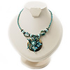 Turquoise Glass, Shell &amp; Mother Of Pearl Floral Choker Necklace (Silver Tone)