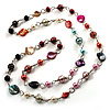 Multicoloured Long Shell Composite & Imitation Pearl Bead Silver Tone Necklace (110cm)