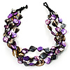 3 Strand Purple & Black Shell - Composite Bead Necklace
