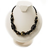 Wooden Bead Leather Style Cord Necklace (Black & Golden)