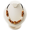 Wooden Bead Leather Style Cord Necklace (Light Brown &amp; Golden)