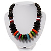 Wood & Resin Chunky Multicoloured Bead Necklace -46cm L