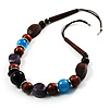 Wood, Glass & Resin Bead Cord Necklace (Brown, Black, Purple & Blue)