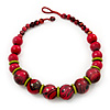 Chunky Colour Fusion Wood Bead Necklace (Cranberry Red, Gold, Light Green & Black)