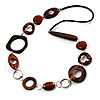 Wood & Silver Tone Metal Link Leather Style Long Necklace (Dark Brown & Black)
