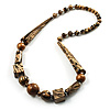 Animal Print Chunky Wood Bead Long Necklace (Cream, Black & Antique Silver)