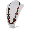 Long Geometric Wooden Link Leather Style Necklace (Dark Brown &amp; Black)