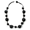 Chunky Black Ceramic & Resin Bead Cotton Cord Necklace