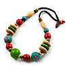 Multicoloured Wood Bead Cotton Cord Necklace