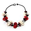 Black, Red & Cream Wood Bead Cord Necklace