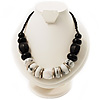 Stylish Chunky Polished Wood and Resin Bead Cotton Cord Necklace (Black & White) - 44cm L