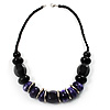 Stylish Chunky Polished Wood Bead Cotton Cord Necklace (Black & Purple)