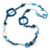 Light Blue Shell &amp; Wood Bead Long Necklace - 90cm Length