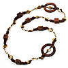 Long Wood, Shell & Glass Bead Necklace - 114cm Length