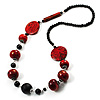 Stylish Animal Print Wooden Bead Necklace (Black & Red)