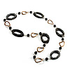 Contemporary Metal &amp; Resin Link Necklace (Black &amp; Bronze)