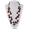 2 Strand Long Wood Bead Necklace (Dark Brown &amp; Cream)